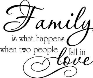 FAMILY IS WHAT HAPPENS WHEN TWO PEOPLE FALL IN LOVE Inspirational Vinyl Wall Art Vinyl Wall Art Saying quote Decal Graphics Matte Black   Wall Decor Stickers