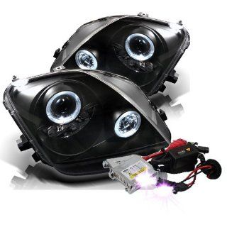 High Performance Xenon HID Honda Prelude Halo Projector Headlights with Premium Ballast   Black with 10000K Deep Blue HID Automotive