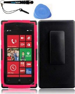 IMAGITOUCH(TM) 3 Item Combo Nokia Lumia 928 Side Stand With Holster   Black+Hot Pink (Stylus pen, Pry Tool, Phone Cover) Cell Phones & Accessories