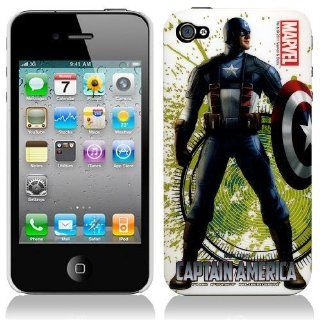 Marvel Original CAPTAIN AMERICA SHIELD AVENGER HARD BACK PIECE Faceplate Protector Case Cover for Apple iPhone 4S / 4G / 4 (Fits any carrier AT&T, VERIZON AND SPRINT) + Free WirelessGeeks247 Metallic Detachable Touch Screen STYLUS PEN with Anti Dust Pl