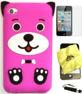 BUKIT CELL Apple IPOD TOUCH 4 4G 4TH GENERATION (ITOUCH 4 8GB 16GB 32GB) Hot Pink DOG PUPPY Silicone Silicon Case Cover + FREE Screen Protector + Bukit Cell Cleaning Cloth + Free WirelessGeeks247 Metallic Detachable Touch Screen STYLUS PEN with Anti Dust P