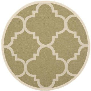 Safavieh CY6243 244 Courtyard Collection Indoor/Outdoor Round Area Rug, 5 Feet 3 Inch, Green and Beige