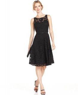 Evan Picone Sleeveless Belted Lace Dress   Dresses   Women