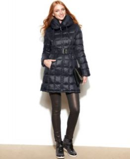 Laundry by Shelli Segal Hooded Faux Fur Trim Belted Puffer Coat   Coats   Women
