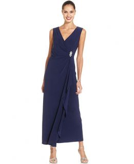R&M Richards Petite Sleeveless Embellished Faux Wrap Gown   Dresses   Women