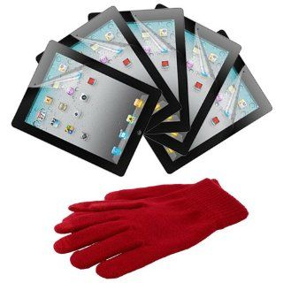 Skque® Branded Reusable Screen Protector Clear Shield(5 Packs) + Red Touch Screen Glove for Apple Ipad 2nd Gen Tab 16GB 32GB 64GB Computers & Accessories
