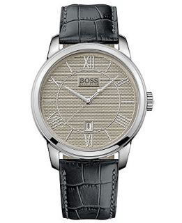 Hugo Boss Mens Classico Black Leather Strap Watch 43mm 1512975   Watches   Jewelry & Watches