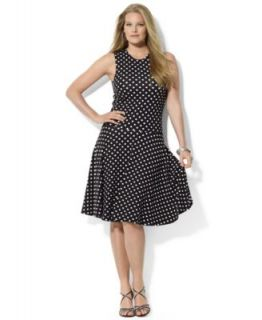 Lauren Ralph Lauren Plus Size Flutter Sleeve Polka Dot Dress   Dresses   Plus Sizes