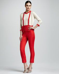 kate spade new york steph colorblock cardigan, colorblock tank & mandy cropped pants