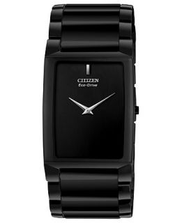 Citizen Mens Eco Drive Stiletto Blade Black Ceramic Bracelet Watch 36x28mm AR3045 52E   Watches   Jewelry & Watches