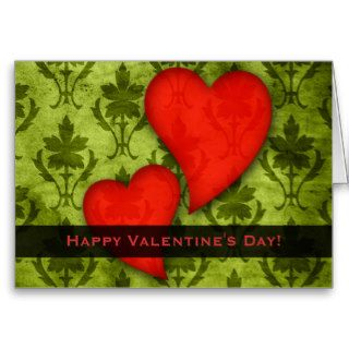 Happy Valentines Day Vintage Red Hearts Green Greeting Card
