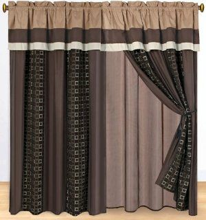 4 Pc Modern Southwestern Chenille Window Curtain Drape Lining Set Coffee Brown   Window Treatment Curtains