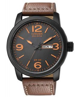 Citizen Mens Eco Drive Brown Leather Strap Watch 39mm BM8475 26E   Watches   Jewelry & Watches