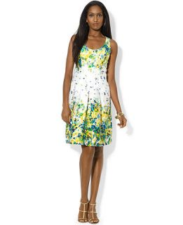 Lauren Ralph Sleeveless Scoop Neck Floral Print Dress   Dresses   Women