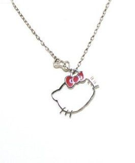 Hello Kitty Sanrio Outline Necklace Bow Charm Jewelry