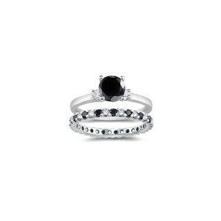 2.73 Cts Black & White Diamond Engagement & Wedding Ring Set in 18K White Gold. 3 Jewelry