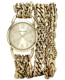 Anne Klein Womens Gold Tone Wrap Chain Bracelet Watch 31mm AK 1452CHGB   Watches   Jewelry & Watches