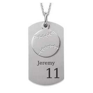 Stainless Steel Baseball Engraved Dog Tag Necklace Jewelry