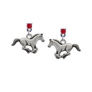 Running Horse Red Swarovski Post Charm Earrings Arts, Crafts & Sewing