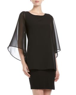 Chiffon Overlay Cape Dress, Black