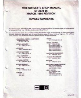 1986 Chevrolet Corvette Shop Service Repair Manual Revisions Book Engine OEM Automotive