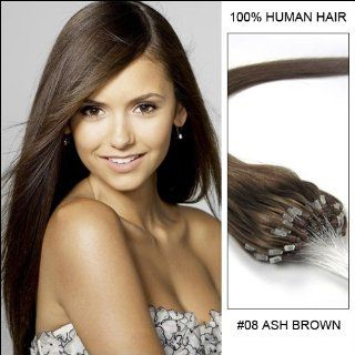 "Wedding Season 22"" inches Loop Micro Ring Beads Tipped Premium Remy Human Hair Extensions_100 Strands_Ash Brown_8_(0.5g/s)_50g Weight Straight Style  Beauty"