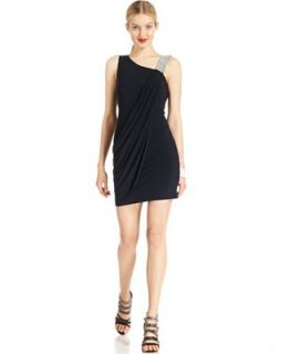 Betsy & Adam Dress, Sleeveless Draped Jeweled   Dresses   Women