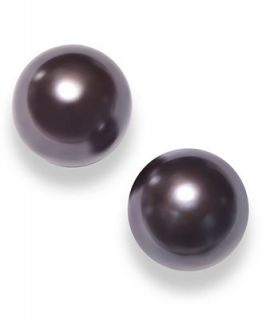 Black Cultured Freshwater Pearl Earrings in Sterling Silver (10mm)   Earrings   Jewelry & Watches