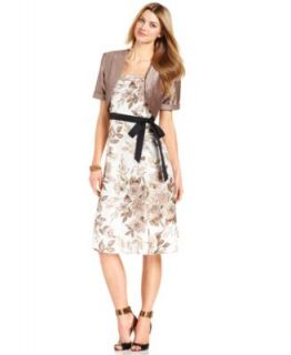 R&M Richards Sleeveless Floral Print Belted Dress and Jacket   Dresses   Women
