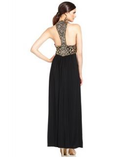 Betsy & Adam Sleeveless Beaded Racerback Gown   Dresses   Women