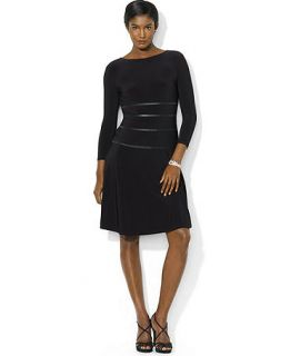 Lauren Ralph Lauren Petite Long Sleeve Faux Leather Trim Dress   Dresses   Women