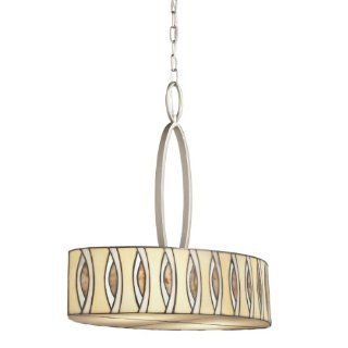 Kichler Lighting 65360 Pluto 4 Light Oval Pendant, Brushed Nickel Finish with Tiffany Art Glass Shade   Ceiling Pendant Fixtures
