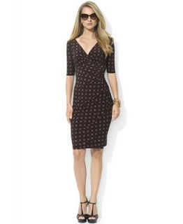 Lauren Ralph Lauren Dress, Short Sleeve Printed Empire Waist Jersey   Dresses   Women