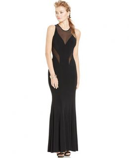 Betsy & Adam Illusion Panel Cutout Gown   Dresses   Women