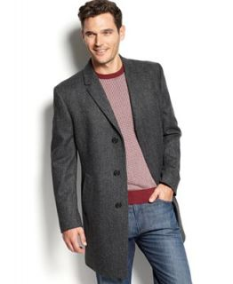 Kenneth Cole New York Coat, Elan Herringbone Wool Blend Overcoat Slim Fit   Coats & Jackets   Men