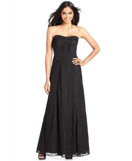 Jessica Simpson Strapless Lace Panel Gown   Dresses   Women