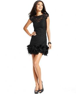 Jessica Simpson Lace Feather Hem Dress   Dresses   Women