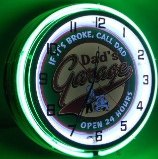 "DAD'S GARAGE 18"" DOUBLE NEON LIGHT WALL CLOCK MAN CAVE WORKSHOP TIN METAL SIGN GREEN"