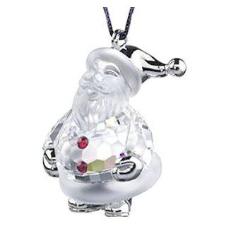 Swarovski Crystal Rhodium Santa Claus Ornament   Decorative Hanging Ornaments