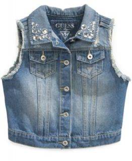 GUESS Kids Shirt, Girls Studded Collar Denim Top   Kids