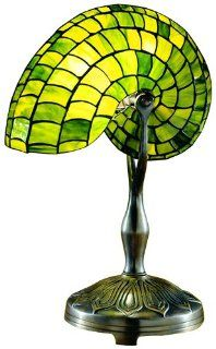 Dale Tiffany 2115/177 Green Nautilus Table Lamp, Antique Bronze and Art Glass Shade   Sailboat Table Lamp