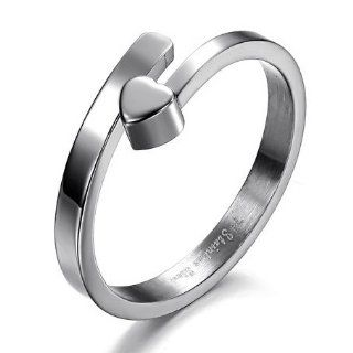 Stainless Steel Heart Split Rings for Women Simple And Elegant, Availabe Sizes 5,6,7,8 Jewelry
