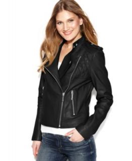 MICHAEL Michael Kors Petite Quilted Detail Leather Motorcycle Jacket   Jackets & Blazers   Women