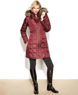 MICHAEL Michael Kors Coat, Hooded Faux Fur Trim Puffer   Coats   Women