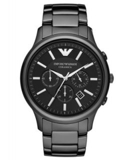 Emporio Armani Watch, Mens Chronograph Black Ceramic Bracelet AR1400   Watches   Jewelry & Watches