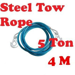 4m 5ton Steel Tow Rope Cable PVC Jacket Drop forged Steel Hooks #15354