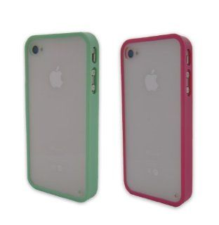 2pcs Cute Colorful Soft Trim High Clear Back Hard cover Slim Frame Bumper Case Skin For iPhone 4 4G 4S 4GS Hot Pink Mint Green Gifts Home button sticker Fashion Cell Phones & Accessories