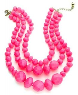 kate spade new york Necklace, Gold Tone Fluorescent Pink Triple Strand Statement Necklace   Fashion Jewelry   Jewelry & Watches