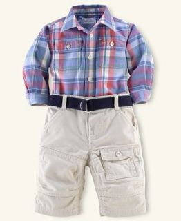 Ralph Lauren Baby Set, Baby Boys Plaid Shirt and Matlock Pants   Kids