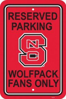 NCAA North Carolina State Wolfpack 12 by 18 inch Plastic Parking Sign  Sports Fan Street Signs  Sports & Outdoors